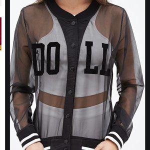 RARE! Barbie Sheer Black Mesh Varsity Jacket, S